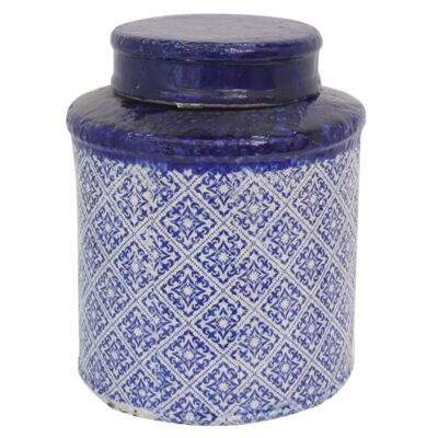 Mosaic Glazed Terracotta Canister with Lid, Medium