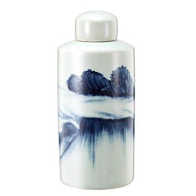 Cumulus Hand Painted Ceramic Lidded Jar - Medium
