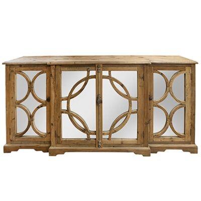 Keats Wood & Mirror 4 Door Sideboard, 200cm, Natural
