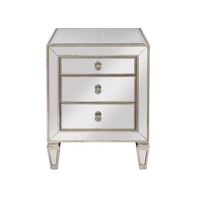 Cassidy Mirrored 3 Drawer Bedside Table