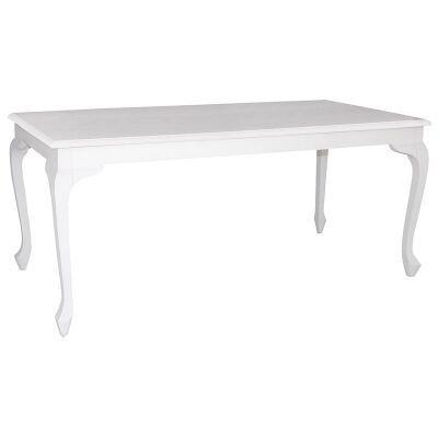 Queen Ann Solid Mahogany Timber 180cm Dining Table - White