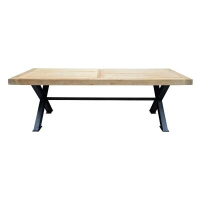 Halston Wooden Top Steel Dining Table, 240cm
