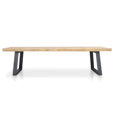 Edric Reclaimed Elm Timber & Steel Dining Table, 300cm