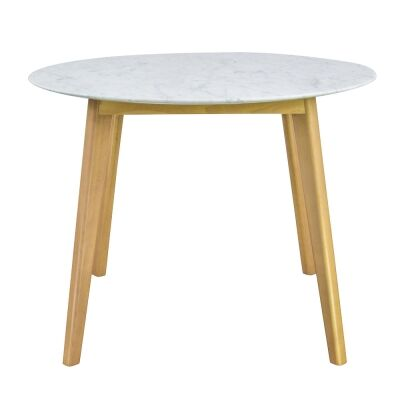 Abir Marble Top Timber Round Dining Table, 100cm