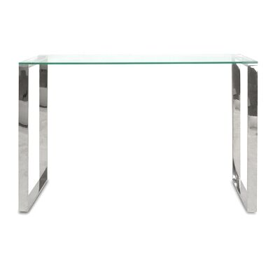 Henrick Glass & Stainless Steel Console Table, 120cm, Silver