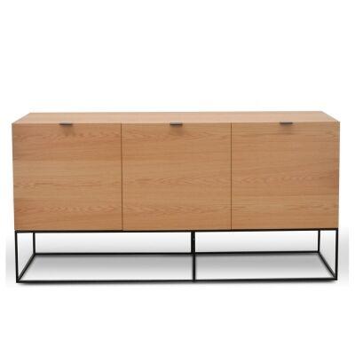 Galleno Wooden 3 Door Buffet Table, Oak