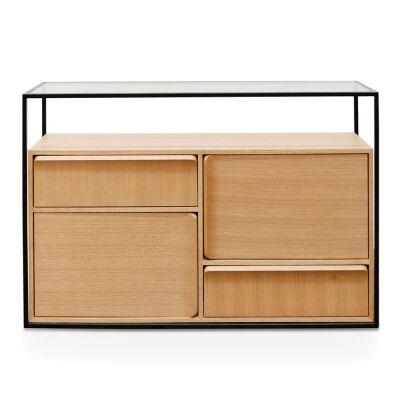 Caveat 2 Door 2 Drawer Buffet Table, 120cm, Black / Beech