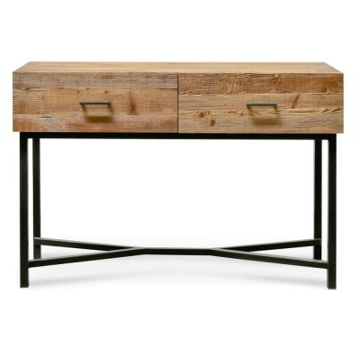 Ricky Reclaimed Pine Timber & Iron Console Table, 120cm, Natural / Black