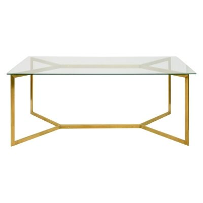 Broarna Glass & Stainless Steel Dining Table, 190cm