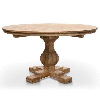 Mallory Reclaimed Elm Timber Round Dining Table, 140cm, Natural
