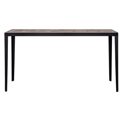 Rudall Parquet Elm Timber Topped Iron Console Table, 185cm