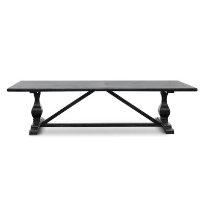 Tate Reclaimed Elm Timber Dining Table, 300cm, Black