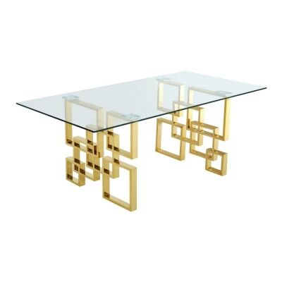 Arzana Glass & Stainless Steel Dining Table, 200cm