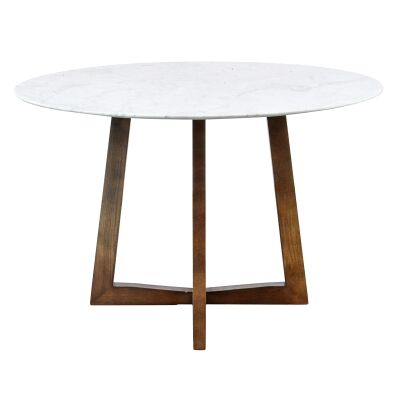 Zed Marble Top Timber Round Dining Table, 115cm, White / Walnut