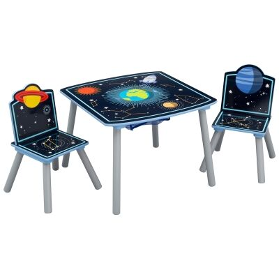 Delta Children Space Adventures 3 Piece Kids Storage Table & Chair Set