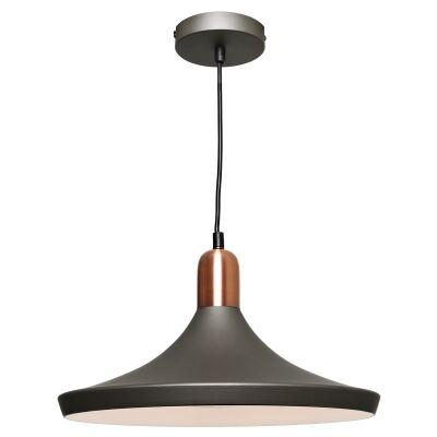 Bevo Metal Pendant Light, Disc, Charcoal / Copper