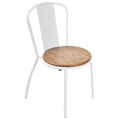 Poppy Commercial Grade Stackable Metal Dining Chair, White