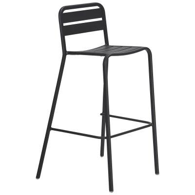 Vespa Comercial Grade Metal Outdoor Bar Chair, Anthracite