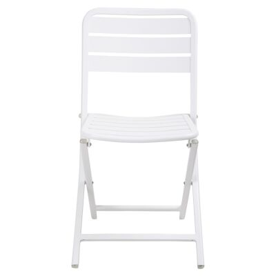 Vespa Comercial Grade Metal Outdoor Folding Chair, White