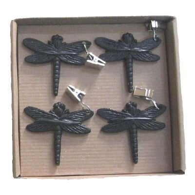 Cast Iron Dragonfly Table Cloth Weight, Set of 4