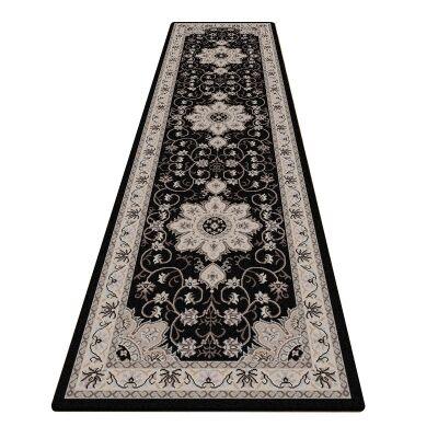 Shiraz Yasmine Oriental Runner Rug, 80x300cm, Black