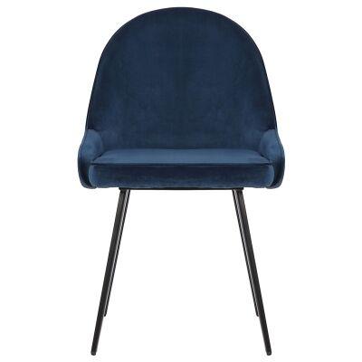 Dane Commercial Grade Velvet Fabric Dining Chair, Navy