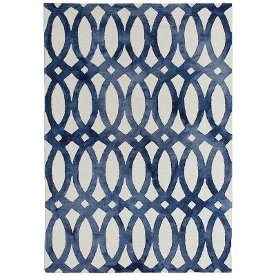 Dip Dye Hand Tufted Wool Rug, 250x350cm, Navy
