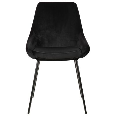 Domo Commercial Grade Velvet Fabric Dining Chair, Black