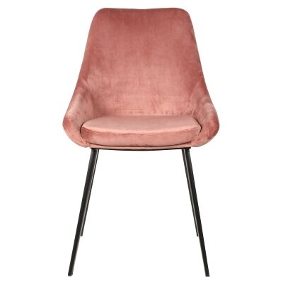 Domo Commercial Grade Velvet Fabric Dining Chair, Blush