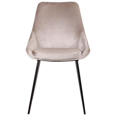 Domo Commercial Grade Velvet Fabric Dining Chair, Champagne