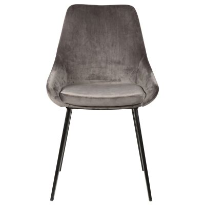 Domo Commercial Grade Velvet Fabric Dining Chair, Grey