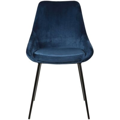 Domo Commercial Grade Velvet Fabric Dining Chair, Navy