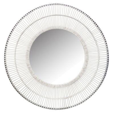 Como Rattan Frame Round Wall Mirror, 100cm