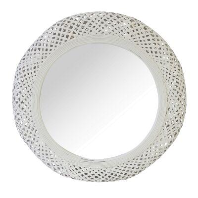 Miara Rattan Frame Round Wall Mirror, 54cm
