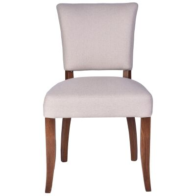 Ditton Linen Fabric Dining Chair, Cream / Maroon