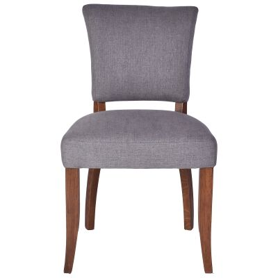 Ditton Linen Fabric Dining Chair, Grey / Maroon
