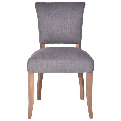 Ditton Linen Fabric Dining Chair, Grey / Husk