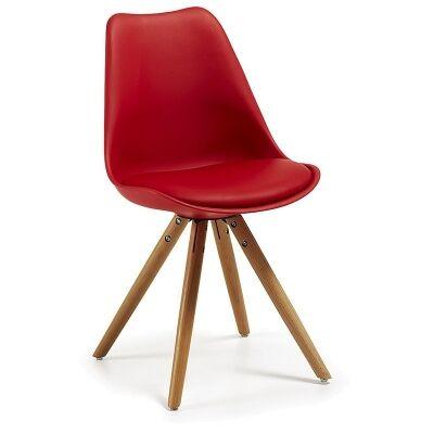 Lakota PU Leather Dining Chair, Timber Leg, Red / Natural