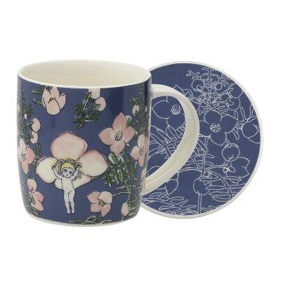 Ecology May Gibbs Flower Babies Fine China Mug & Coaster Set, Navy