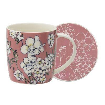 Ecology May Gibbs Flower Babies Fine China Mug & Coaster Set, Pink