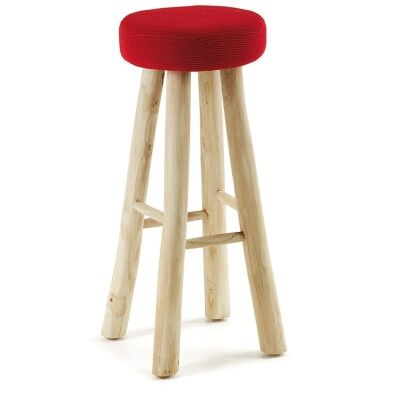 Classon Solid Teak Timber Bar Stools with Fabric Seat, Red