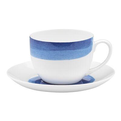 Ecology Watercolour Bone China Teacup & Saucer Set, Ocean