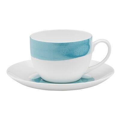 Ecology Watercolour Bone China Teacup & Saucer Set, Aqua
