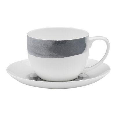 Ecology Watercolour Bone China Teacup & Saucer Set, Smoke