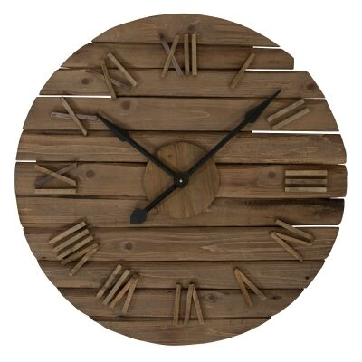 Marshall Fir Wood Round Wall Clock, 80cm