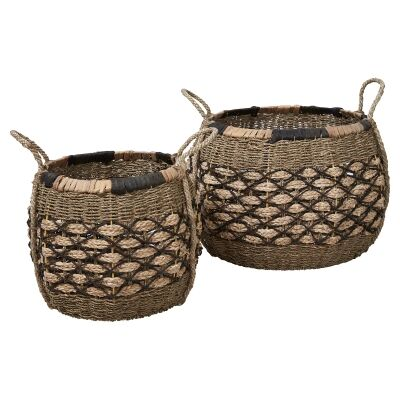 Equador 2 Piece Woven Water Hyacinth Basket Set, Round
