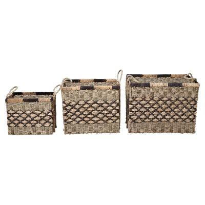 Equador 3 Piece Woven Water Hyacinth Basket Set, Rectangular