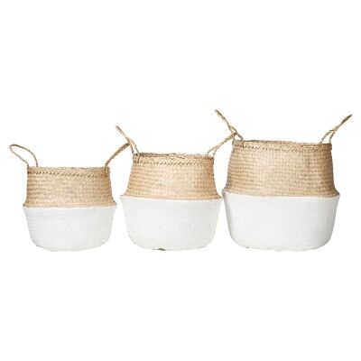 Lucida 3 Piece Foldable Seagrass Basket Set, Natural / White