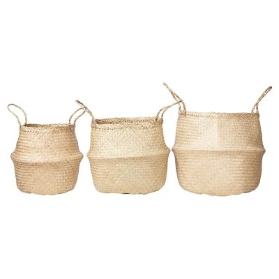 Lucida 3 Piece Foldable Seagrass Basket Set, Natural
