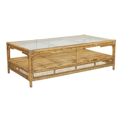 Havana Glass Topped Rattan Coffee Table, 140cm